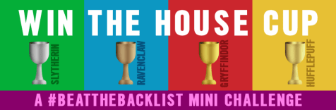 Four Hogwarts House Cups banner with text