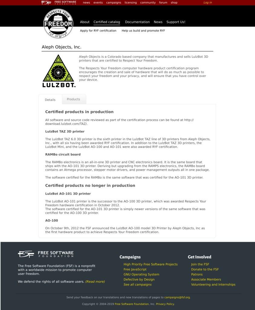Prévia da página de empresas com produtos certificados do projeto RYF.
