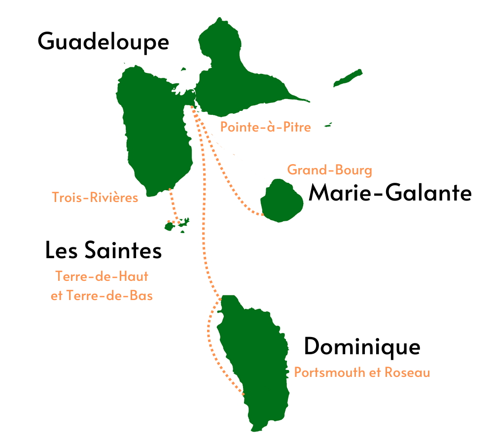 Cartes des destinations du bateau VAL FERRY
