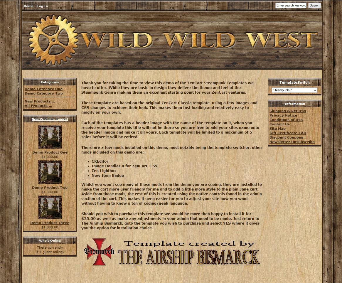 Wild Wild West Zencart Template Asb Zc