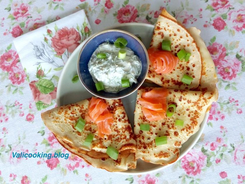 Buckwheat pancakes with salmon