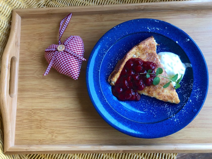 Cottage Cheese Zapekanka with Homemade Cherry Compote