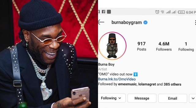 Burna Boy unfollows everyone on IG including his mom, except one person. Guess who?