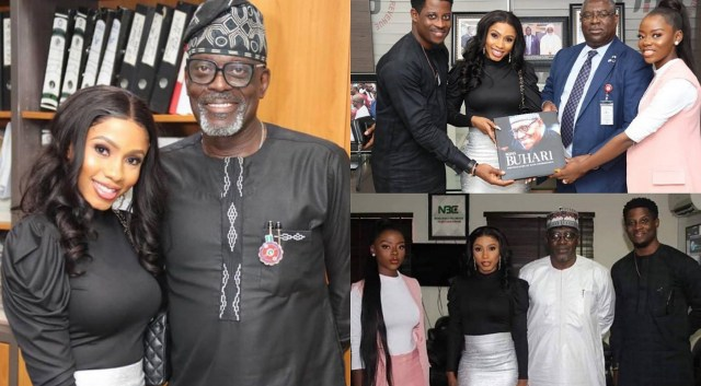 Reality stars Mercy, Seyi and Diane visit NBC and FIRS on behalf of DStv NG