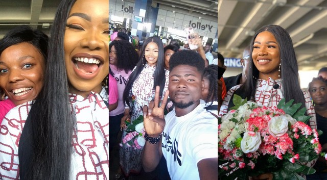 Reality star Tacha arrives Ghana, given a rousing welcome