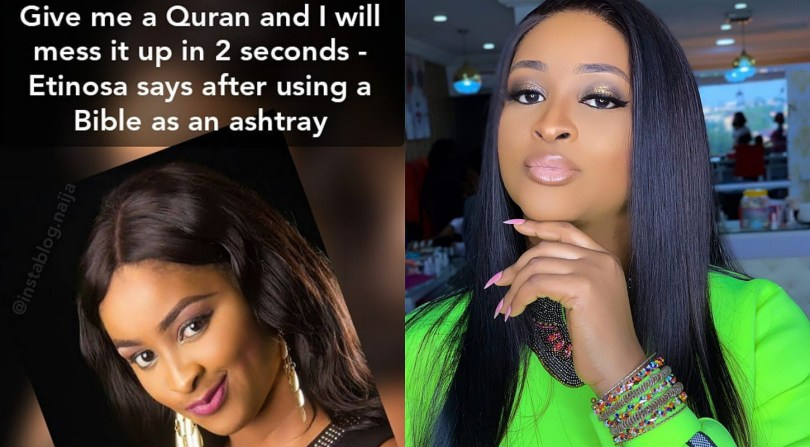 A Muslim poet threatens Etinosa who said she'll mess Quran up in 2 seconds after she used Bible as ashtray