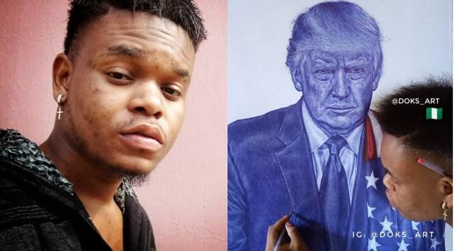 Pres. Donald Trump replies a Nigerian ballpoint artist who made a portrait of him