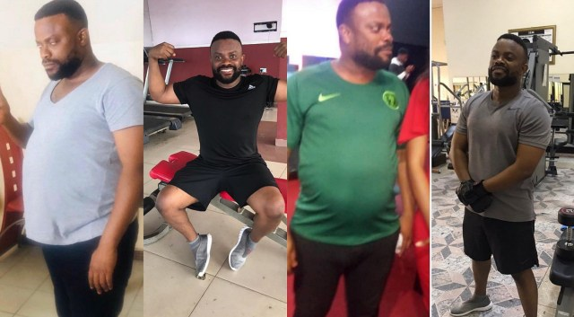 Wow! Actor Okon surprisingly transforms his pot-belly into a six-pack