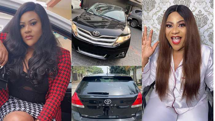 Actress, Nkechi Blessing shows off a Toyota Venza as birthday gift to herself