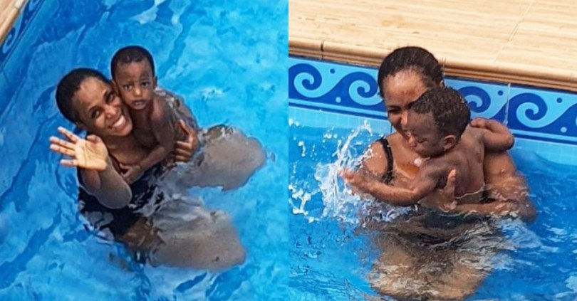Adorable Moment Linda Ikeji Goes Swimming With Her Son Jayce