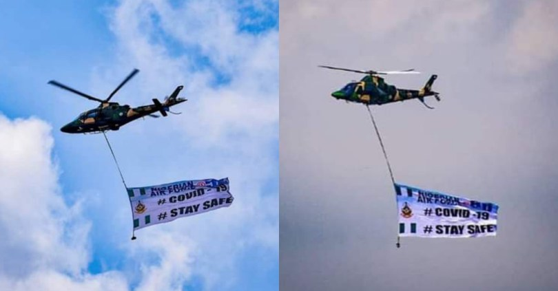 Nigerian Air Force uses helicopter to sensitize Abuja Residents on COVID-19 (see photos)