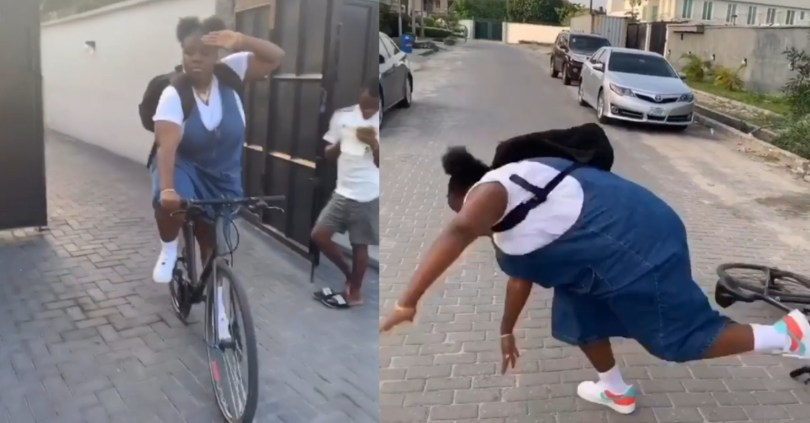 Fat singer, Teni suffers brutal fall moment she attempted riding a bicycle (hilarious video)