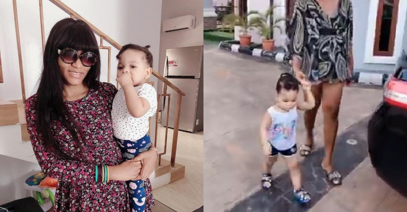 Lockdown: Bored actress, Queen Nwokoye, takes a walk with her beautiful baby (short video)