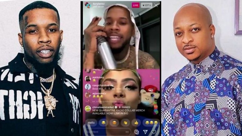 See how actor, Ik Ogbonna disgraced Nigerians on American rapper, Tory Lanez' Instalive (video)