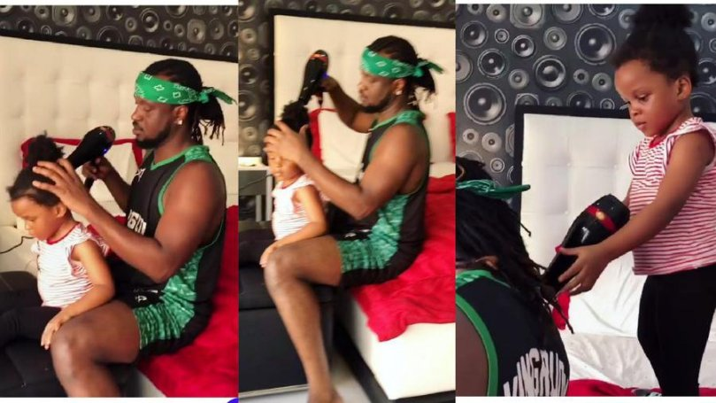 See adorable moment singer, Paul Okoye became his daughter, Nadia's hair dresser (video)