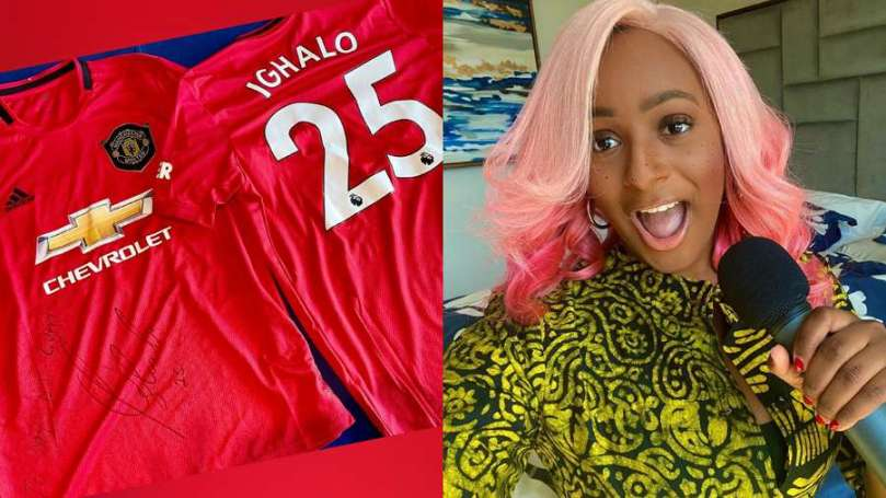 Man Utd player, Ighalo finally welcomes Dj Cuppy into the club with autographed jersey