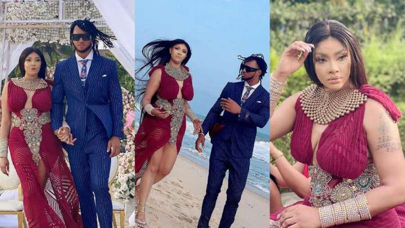 Actress Angela Okorie finally reveals her fiance's face