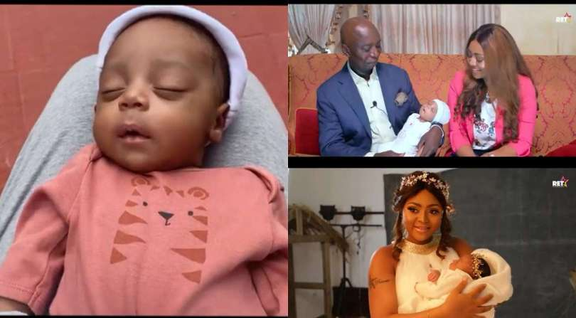 Regina Daniels finally reveals her baby's face (video)