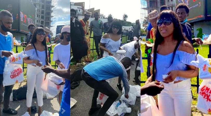 BBNaija's Erica feeds EndSARS protesters in Lagos (video)