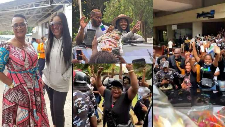 Moment thousands of supporters welcome BBNaija's Kiddwaya and Erica in Sierra Leone (video)