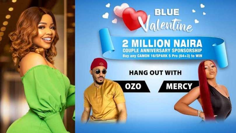 BBNaija Nengi's fans react as Ozo and Mercy Eke set to headline Tecno Valentine hangout