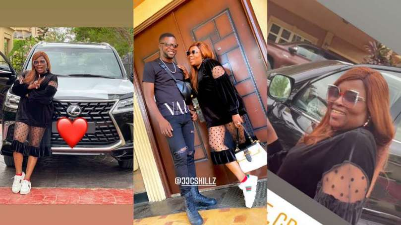 JJC Skillz rejoices with wife Funke Akindele as she acquires new ride