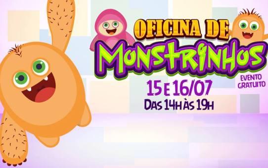 Gratuito | Oficina de monstrinhos dias 15 e 16/07 no Shopping Prado Boulevard