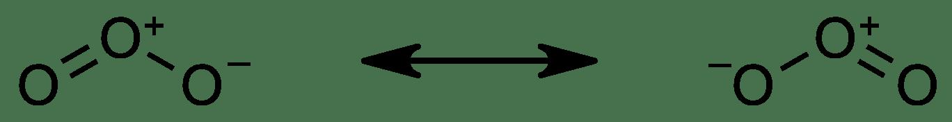 Otsonimolekyylin resonanssimuodot, joissa keskimmäisellä happiatomilla on muodollinen positiivinen varaus ja toisella reunimmaisista happiatomeista on negatiivinen varaus.