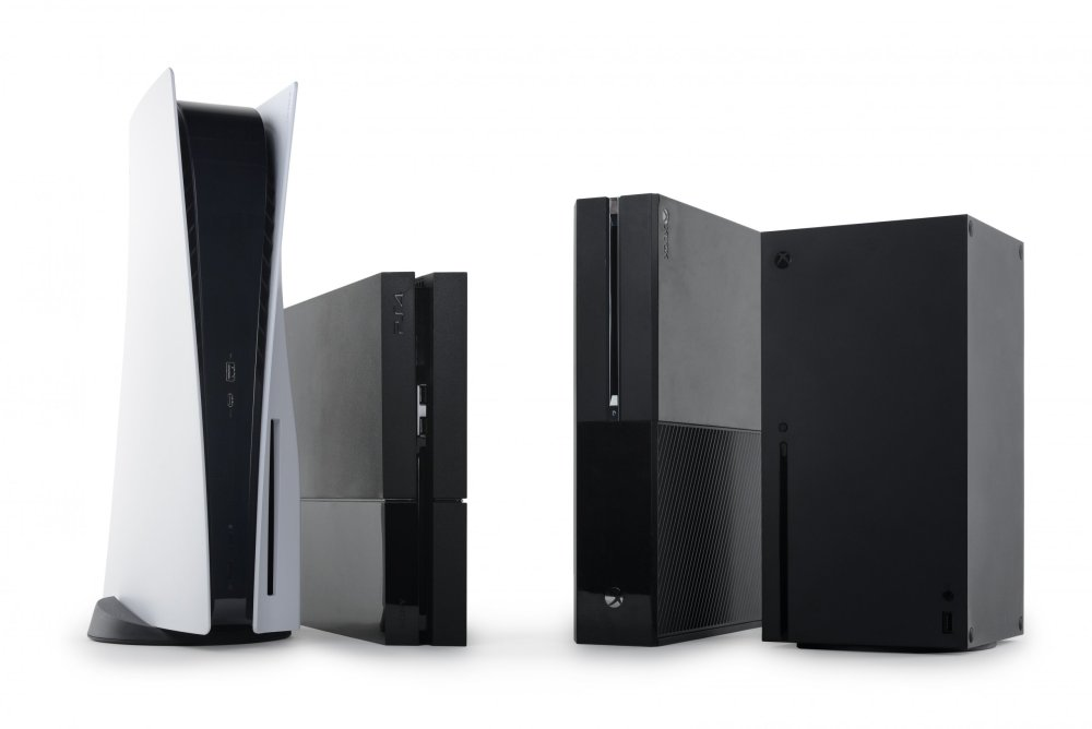 PS5 and Series X consoles next to their progenitors
