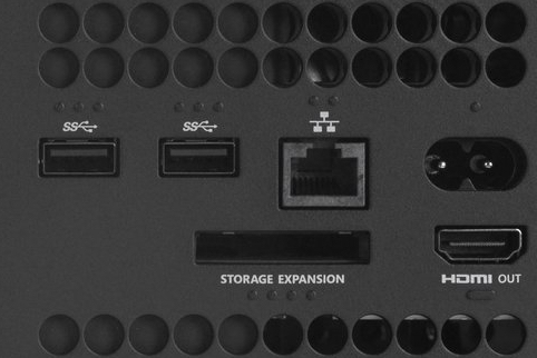 Back of the Xbox Series X showing storage expansion port