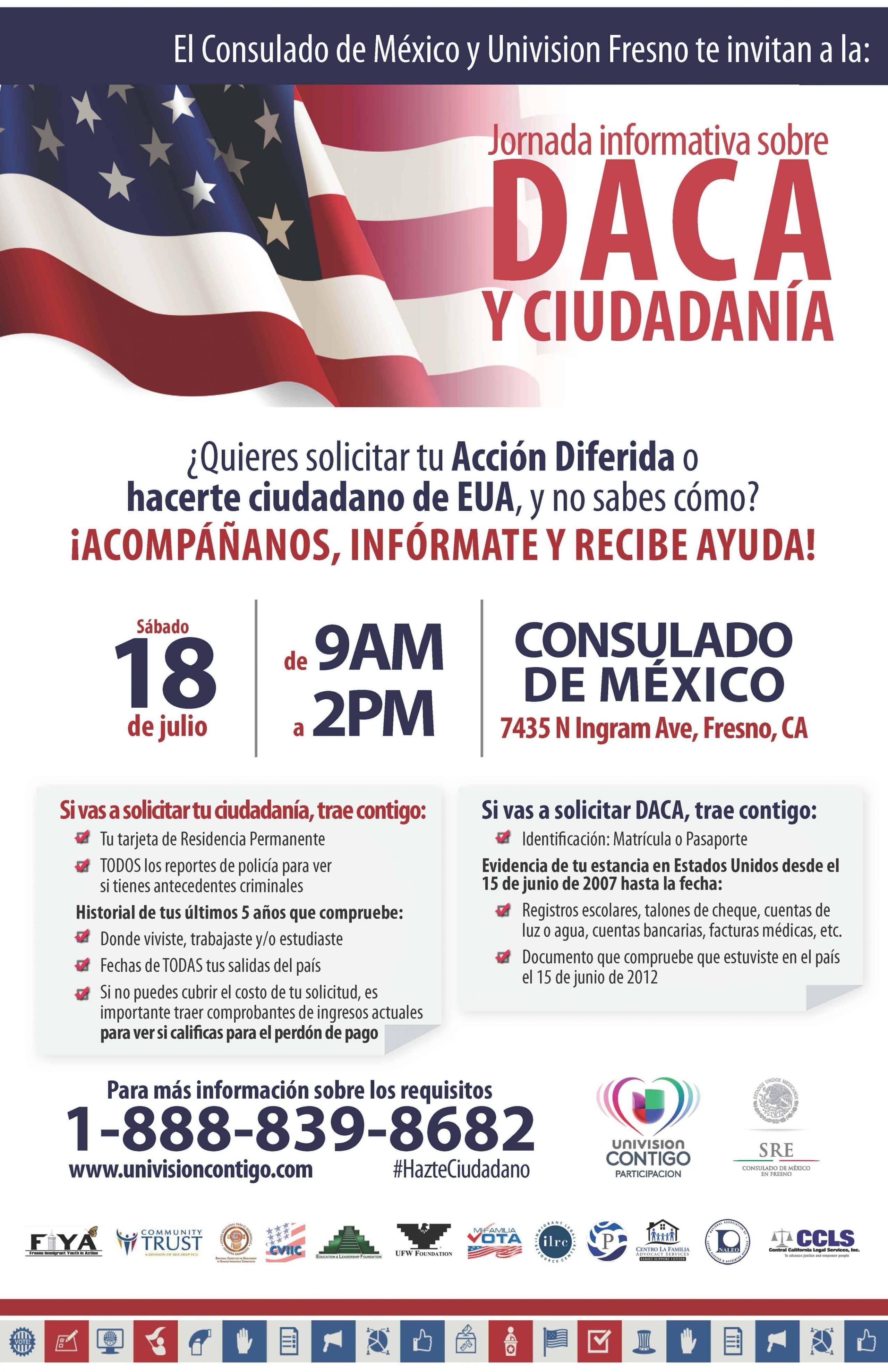 Taller de DACA y ciudadania 18 de Julio Consulado de Mexico en Fresno