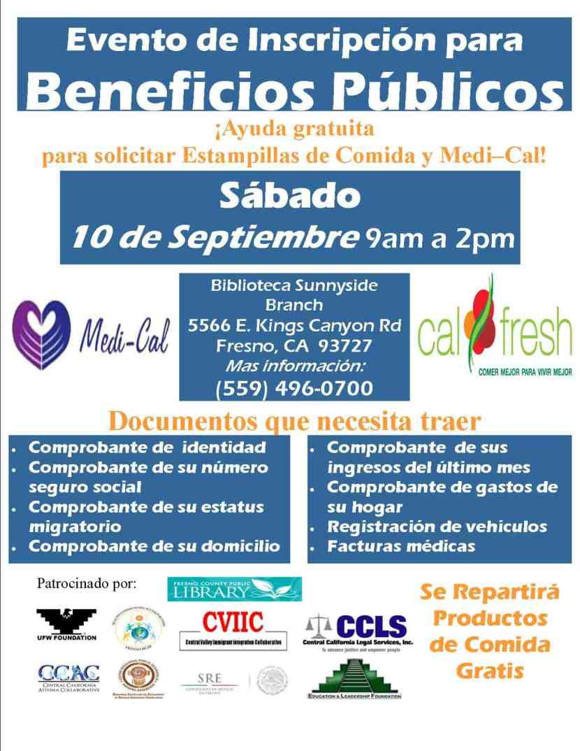 Evento de Inscripcion para Beneficios Publicos Biblioteca de Sunnyside 10 de Septiembre 2016