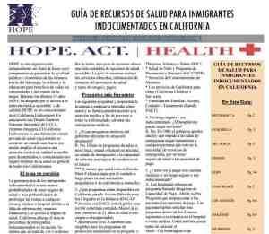 Guia de Recursos de Salud para Inmigrantes Indocumentados en California HOPE