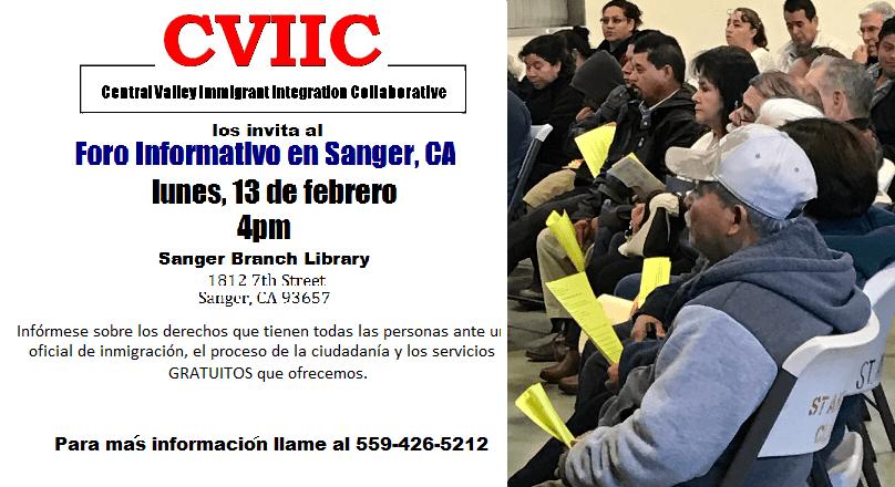 Evento Informativo Sobre Inmigracion en Sanger 13 de Febrero 2017
