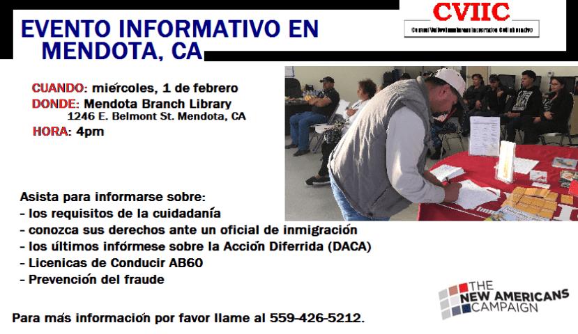 Evento Informativo Sobre Inmigracion en Mendota 1 de febrero 2017
