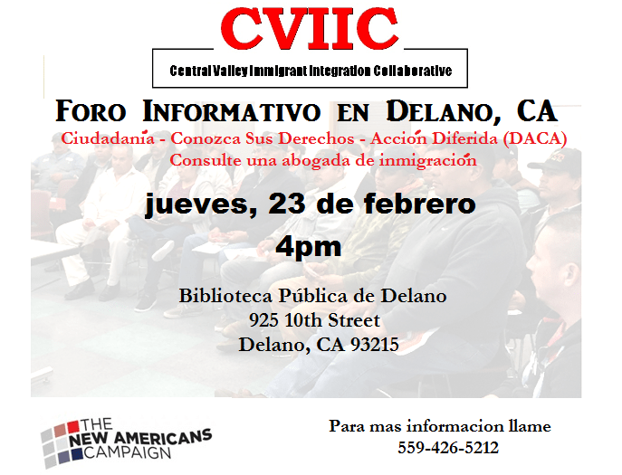Evento Informativo Sobre Inmigracion en Delano 23 de Febrero 2017