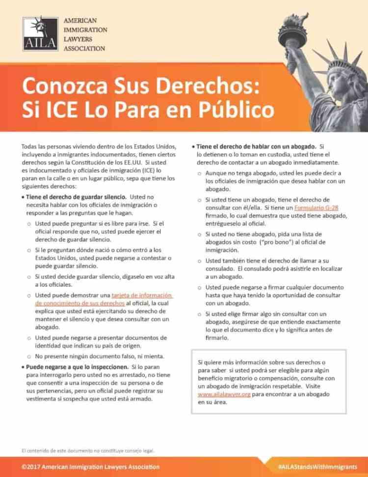 Si ICE Te Detiene en un Lugar Publico Guia Informativa