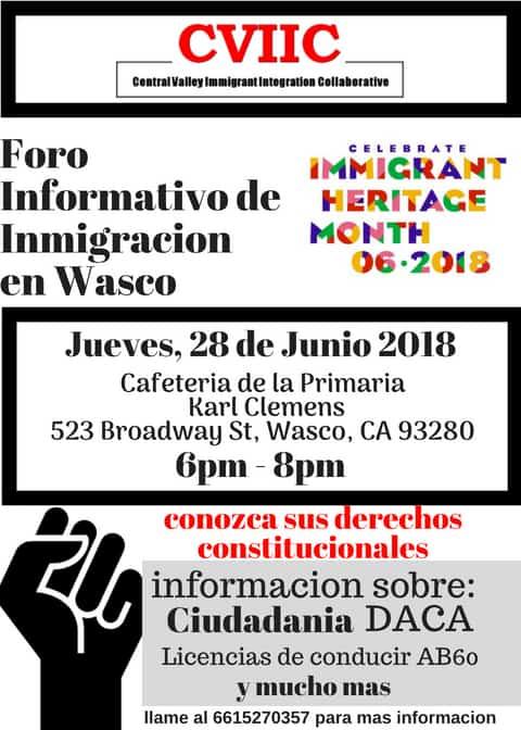 Foro Informativo de Inmigración en Wasco el 28 de Junio 2018 CVIIC