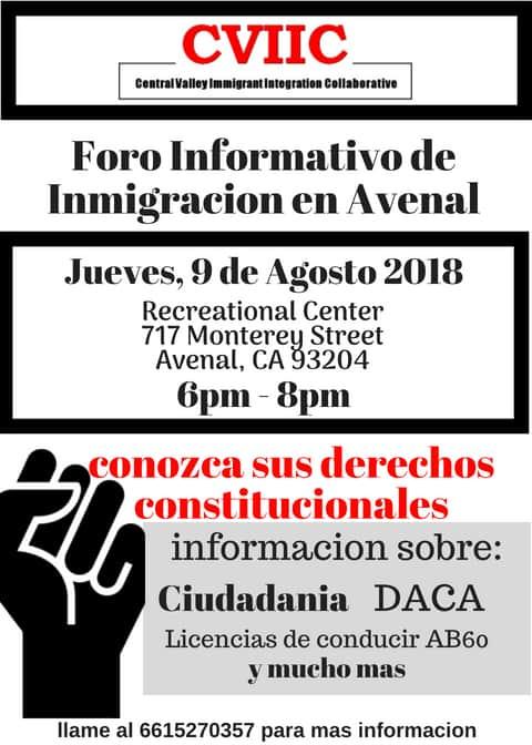 Foro Informativo de Inmigración en Avenal 9 de Agosto 2018