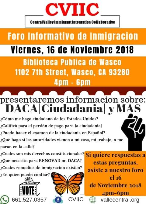 Foro Informativo de Inmigracion en Wasco el Viernes 16 de Noviembre 2018