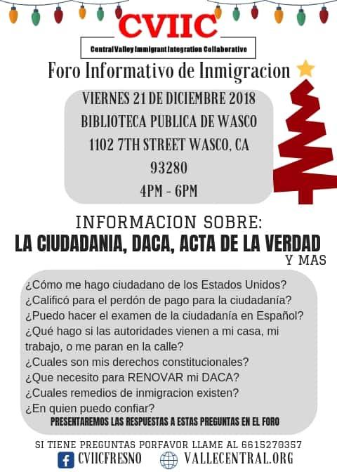 Foro Informativo de Inmigración en Wasco 21 de Diciembre 2018 CVIIC