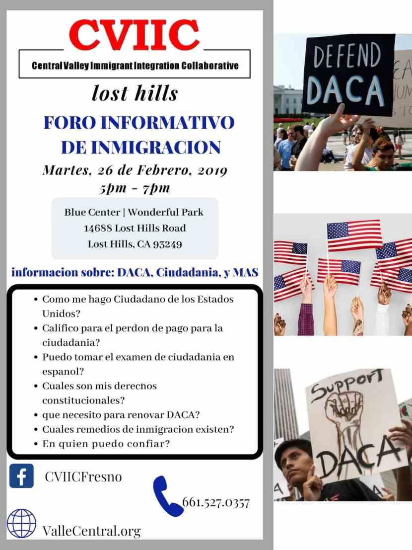 Foro Informativo de Inmigración en Lost Hills Martes 26 de Febrero 2019 CVIIC