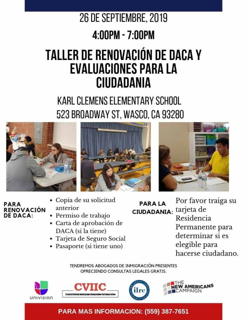 Taller de Ciudadanía y Renovación de DACA en Wasco 26 de Septiembre 2019
