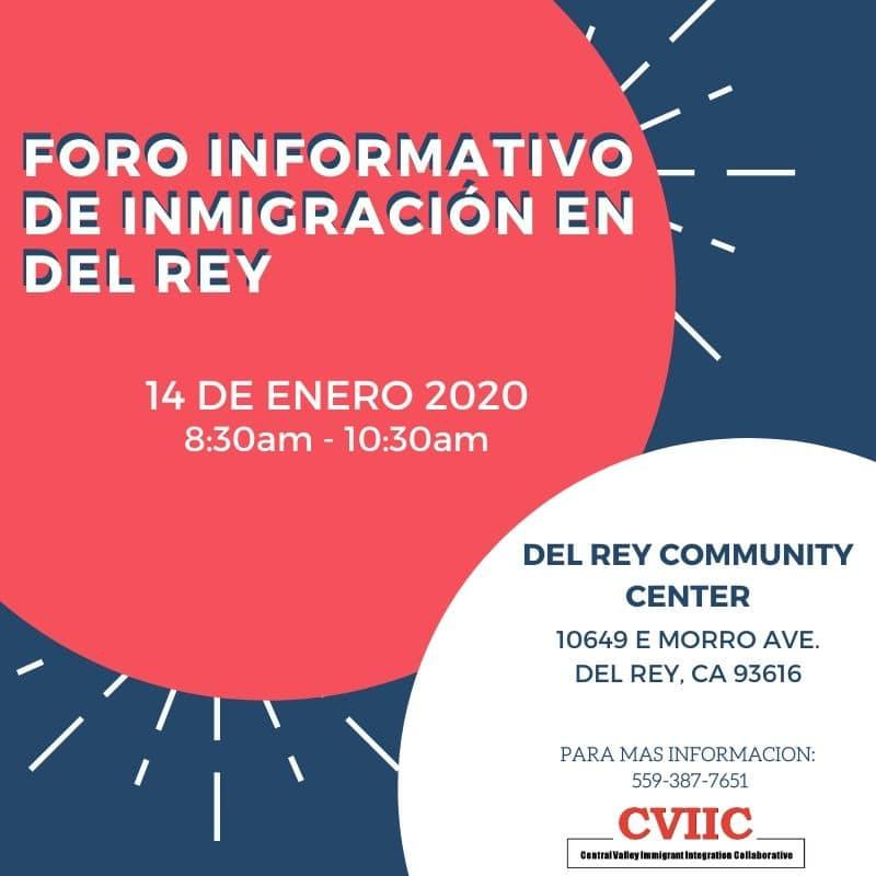 Foro Informativo de Inmigración en Del Rey 14 Enero 2020 CVIIC