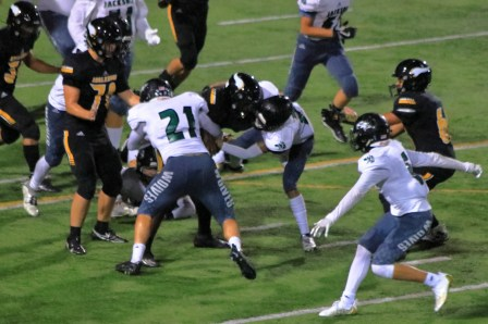 Chase Holdin leads the tacklers