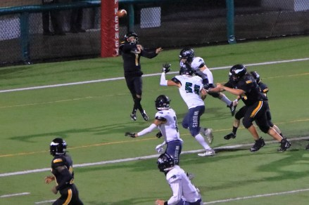 Ioseph Flores throws from the end zone
