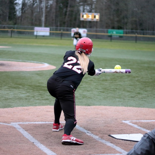 A Wildcat goes for the bunt in the third (I wish Mount Si had a roster posted).