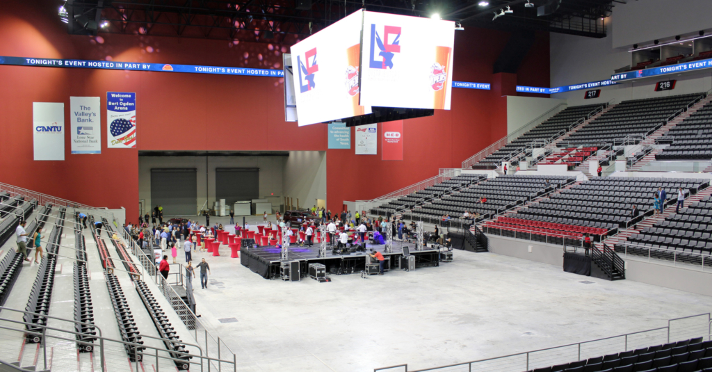 People begin to arrive at Bert Ogden Arena for the grand opening ceremonies in August. (VBR)