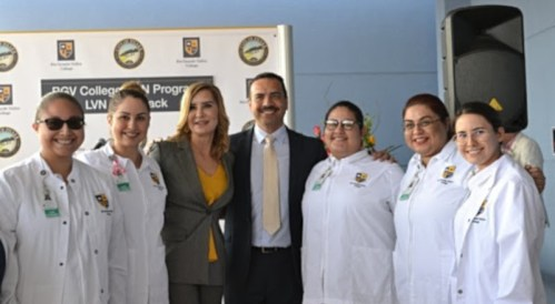 Mayor Ambrosio Hernandez, M.D. and Dr. Annabelle Palomo celebrate alongside current RGV College nursing students.
