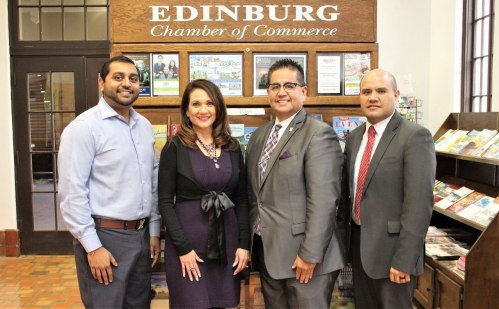 Edinburg of Commerce officials Hiren Govind, Mario Lizcano, Veronica Gonzalez and Ronnie Larralde promoting the RGV Census Forum.